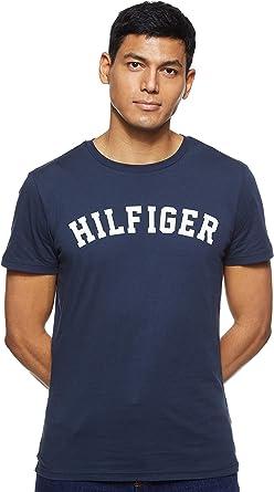 Tommy Hilfiger Logo Camiseta de Cuello Redondo, Perfecta para El Tiempo Libre para Hombre: Amazon.es: Ropa y accesorios