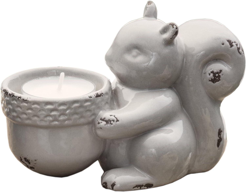 PRINZ Potting Shed Squirrel Tea Light Holder, Gray