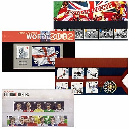 Caja de 4 balón de fútbol/Royal Mail sello mundial de fútbol de ...