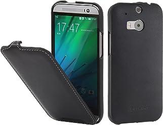 StilGut UltraSlim, Housse en Cuir pour HTC One M8 & HTC One M8s, en Noir Nappa