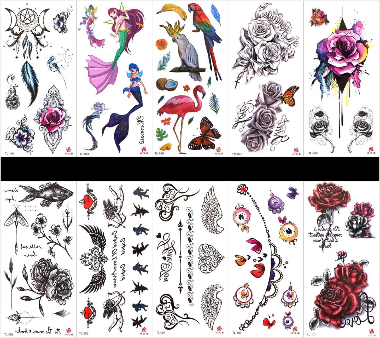 10 tatuajes de tatuaje de flores de tatuaje, impermeables y no ...