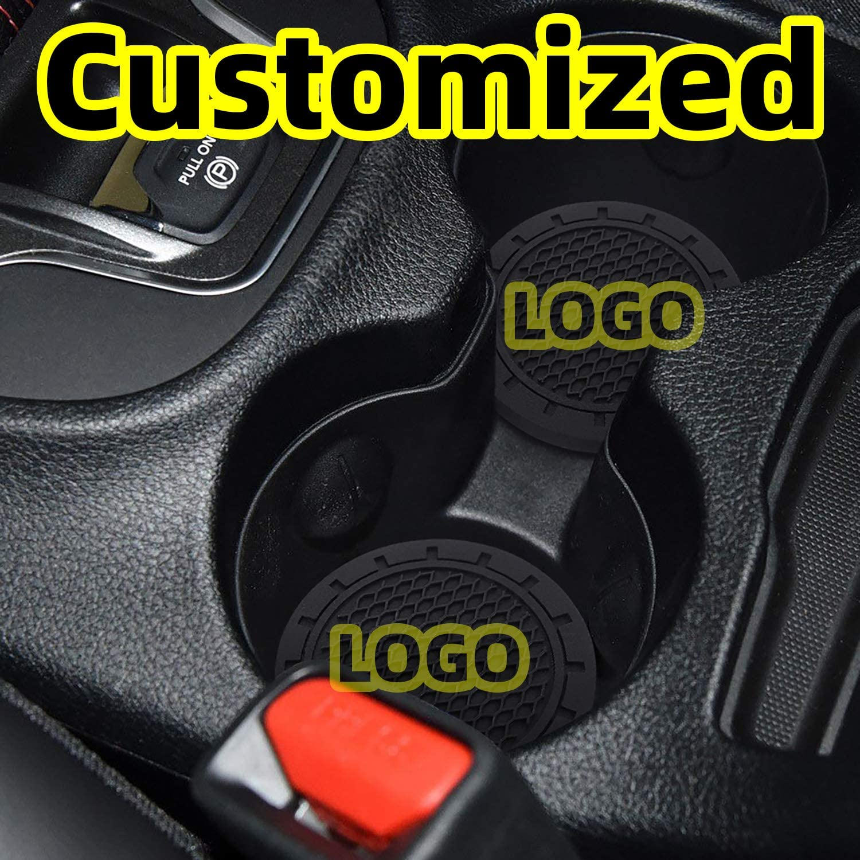 Carhome01 Car Logo Cup Holder Coaster for Cadillac Accessories 2.8 Inch Anti Slip Mat Auto Interior Decoration Pad 2PCS