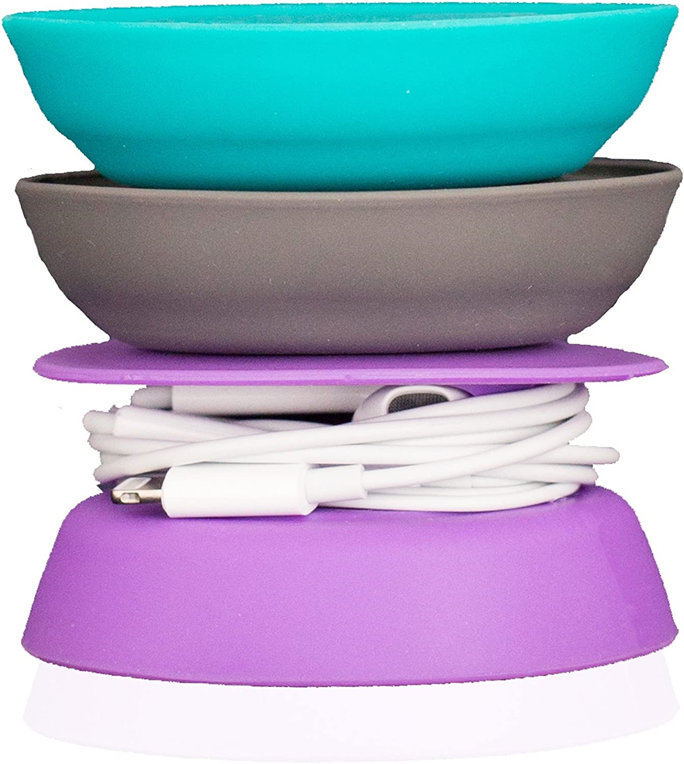 Budley - Tangle-Free Earphone/Earbud Case, Compact Storage System, Silicone (Teal/Gray/Purple, Set of 3)