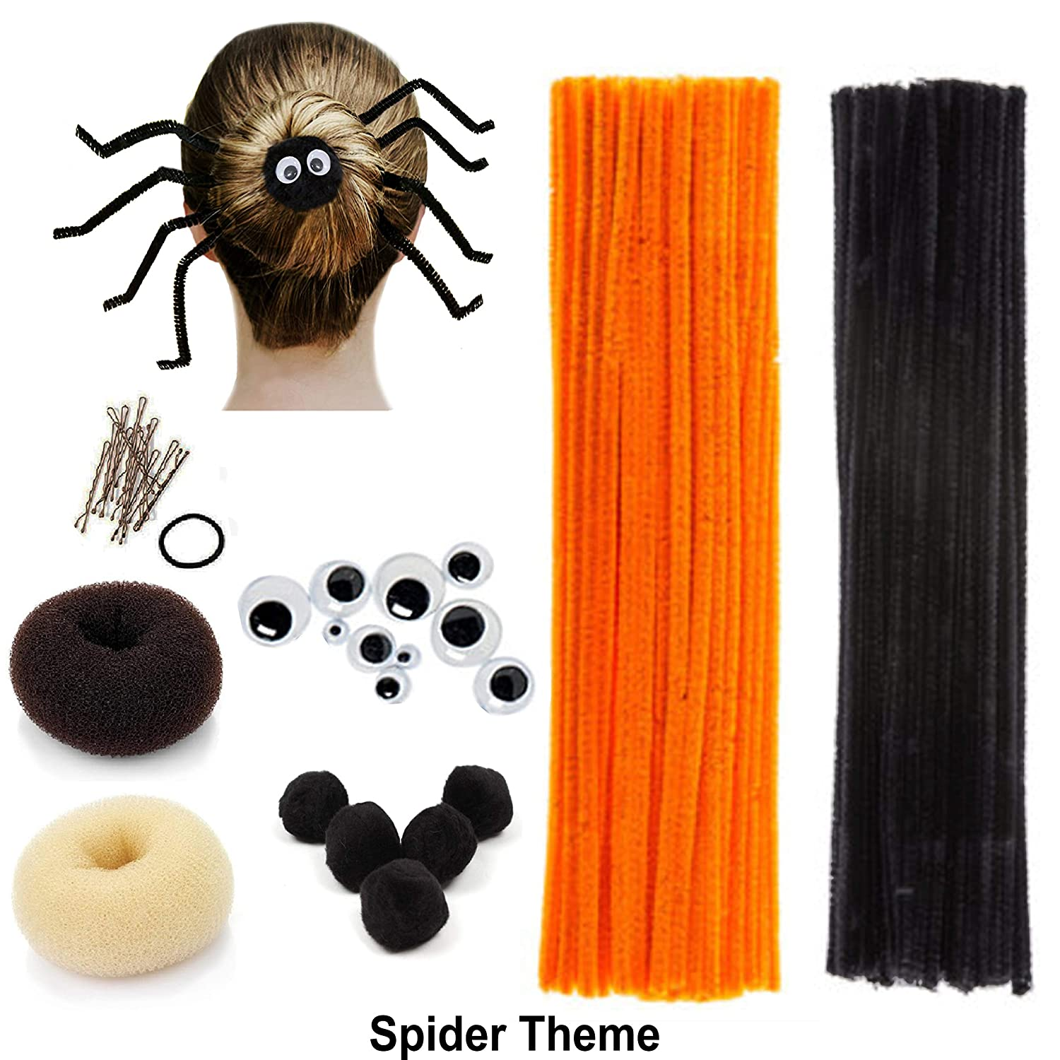 Beaute Galleria Creativity Diy Kids Hair Crafts Accessory Decor Chenille Stem Pipe Cleaner Bun Maker For Halloween Costume Spider Reindeer Christmas