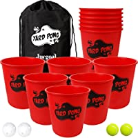 Juegoal Yard Pong, Outdoor Giant Yard Games Pong Game Set with Durable Buckets and Balls, Including 12 Buckets & 4 Balls, Cup Pong Throwing Game for Beach, Camping, Lawn and Backyard