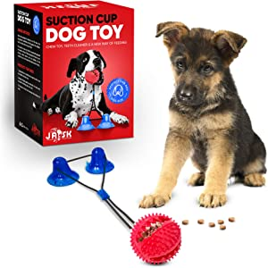 Jask Double Suction Cup Dog Toy for Small and Large Dogs - Tug of War Rope Chew Toy for Aggressive Chewers - Cup and Ball Rope Toy - Interactive Teeth Cleaning Food Dispenser - Suction Pet Tug Toy