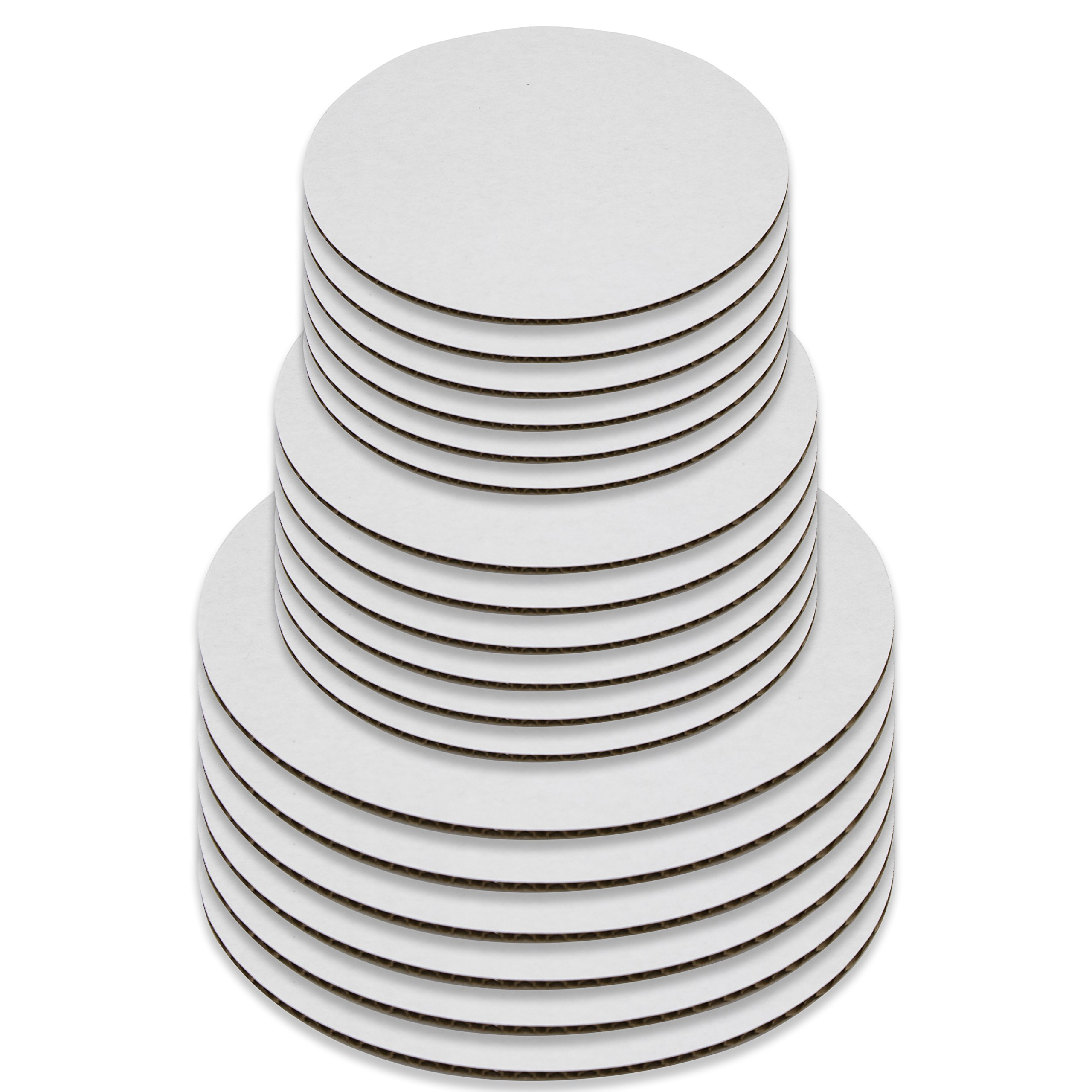 18 Cake Boards, White Round Cake Circle base - 8, 10 and 12 inch, 6 of each Size