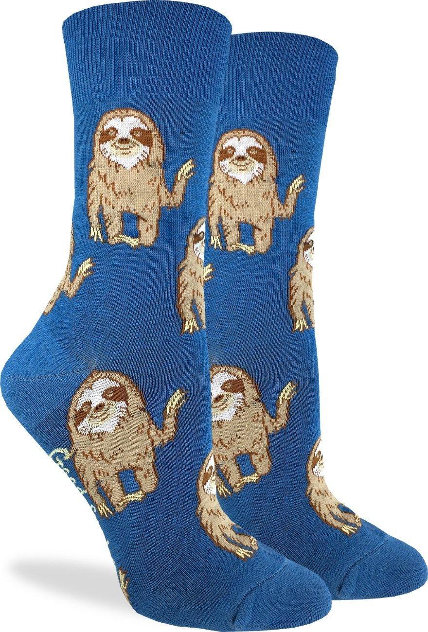 Good Luck Sock Women'S Hello Sloth Socks - Blue, Adult Shoe Size 5-9 - Blue