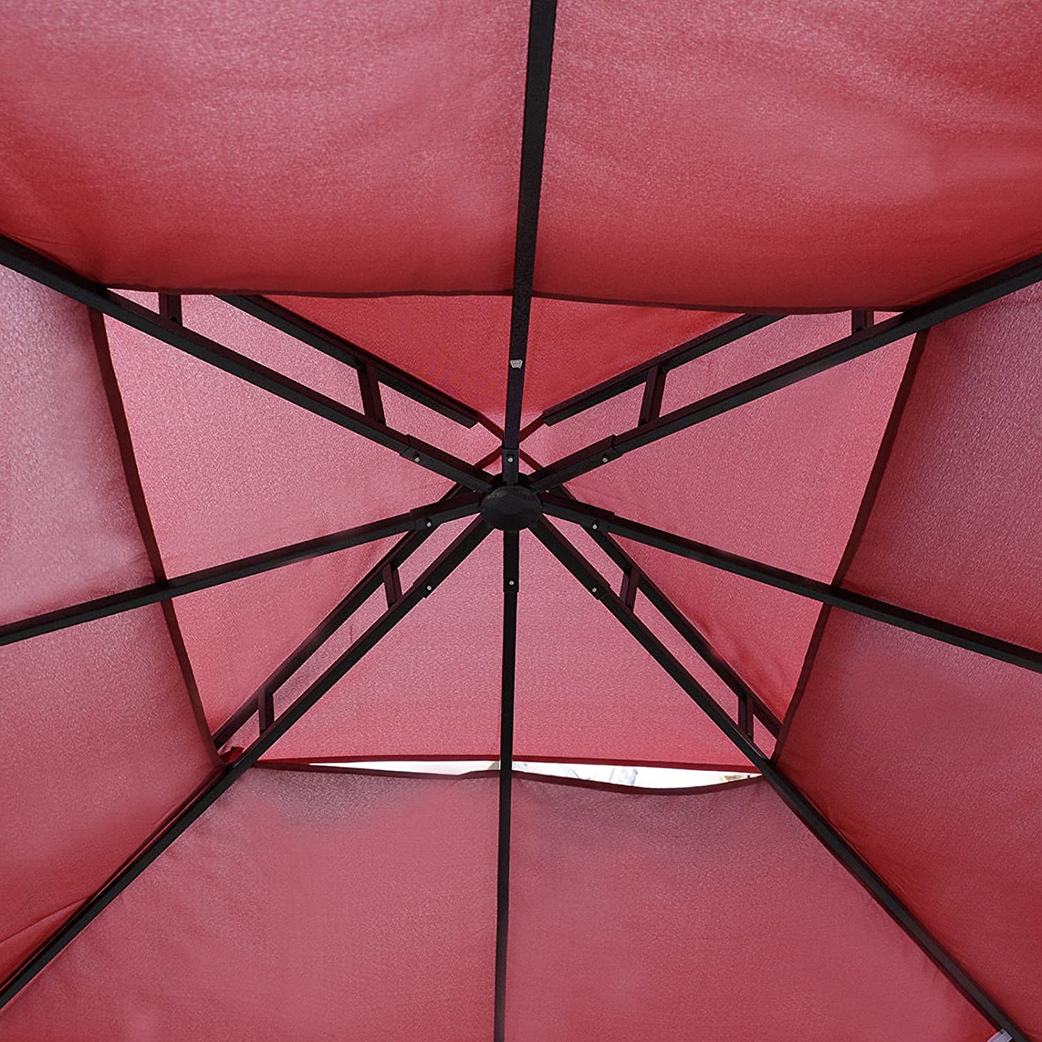 2 Tier Red SUNDRY 10 X 10 Gazebo Top Cover Patio Canopy Replacement 1-Tier or 2-Tier 3 Color Protection Against UV Rays from Sun