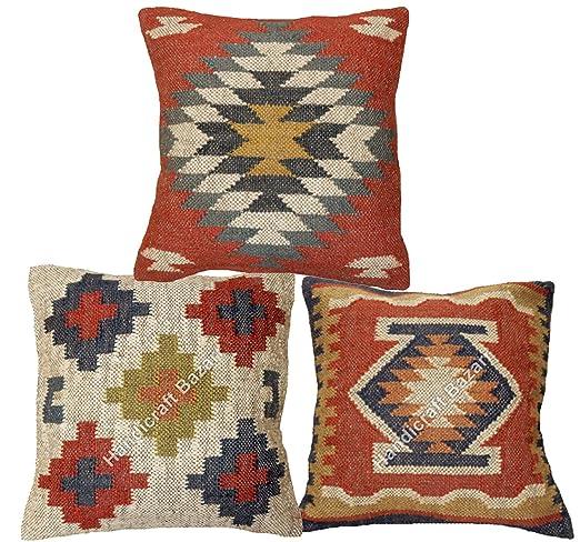 Handicraft Bazarr- Juego de 3 almohadas hechas a mano de ...