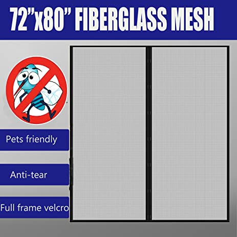 Fiberglass mesh magnetic screen door 72x80 with full frame fiberglass mesh magnetic screen door 72quotx80quot with full frame velcrofly mosquitoes planetlyrics Choice Image