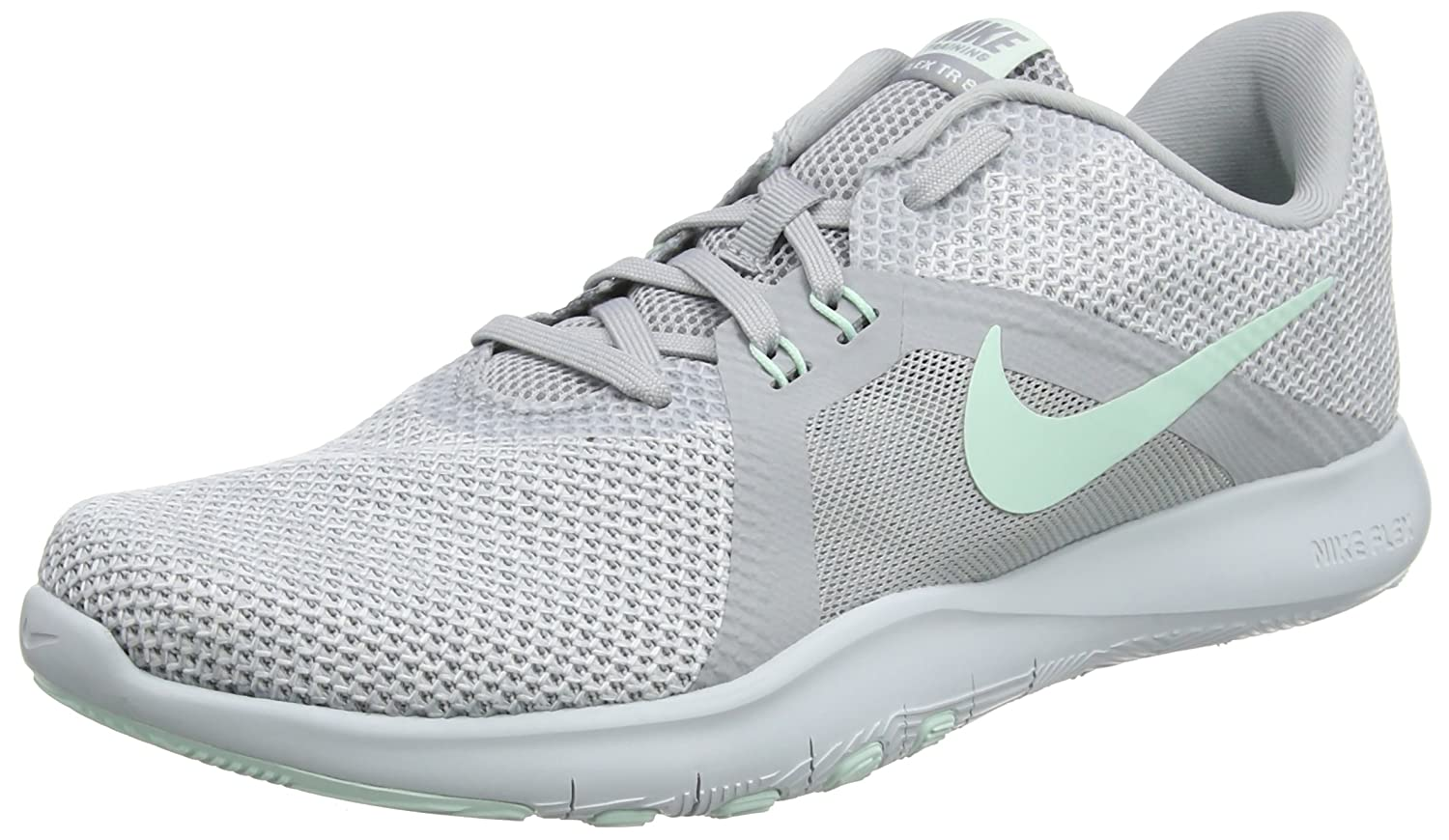 NIKE Women's Flex 8 Cross Trainer B0761XYWXX 12 M US|Wolf Grey/Igloo - White - Pure Platinum