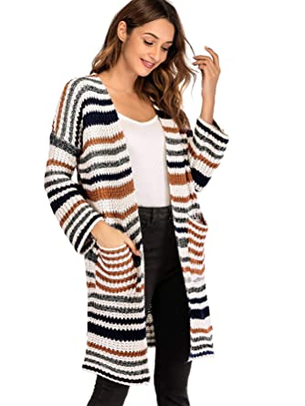 Milumia Striped Cardigan Warm Winter Sweaters Long Sleeves Open Front Basic  Lightweight Outwear with Pockets 98d28886d