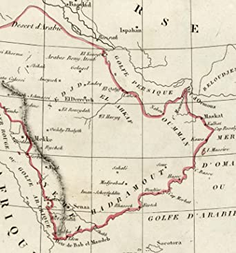 Amazon.com: Arabian peninsula Middle East old map 1834 Tardieu ...