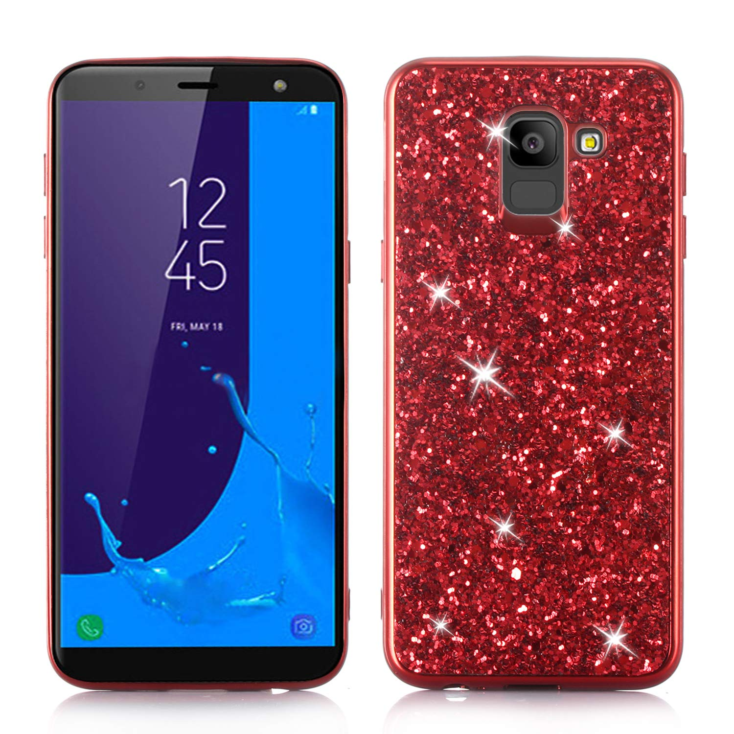 Nadoli Glitter Coque pour Galaxy J6 2018, Or Silicone Gel Brillant Bling Mince Slim Housse Couverture É tui de Protection Rigide Cover Shell pour Samsung Galaxy J6 2018, Or