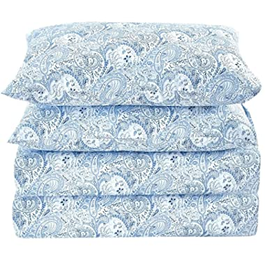 Mellanni Bed Sheet Set Brushed Microfiber 1800 Bedding - Wrinkle, Fade, Stain Resistant - Hypoallergenic - 4 Piece (King, Paisley Blue)