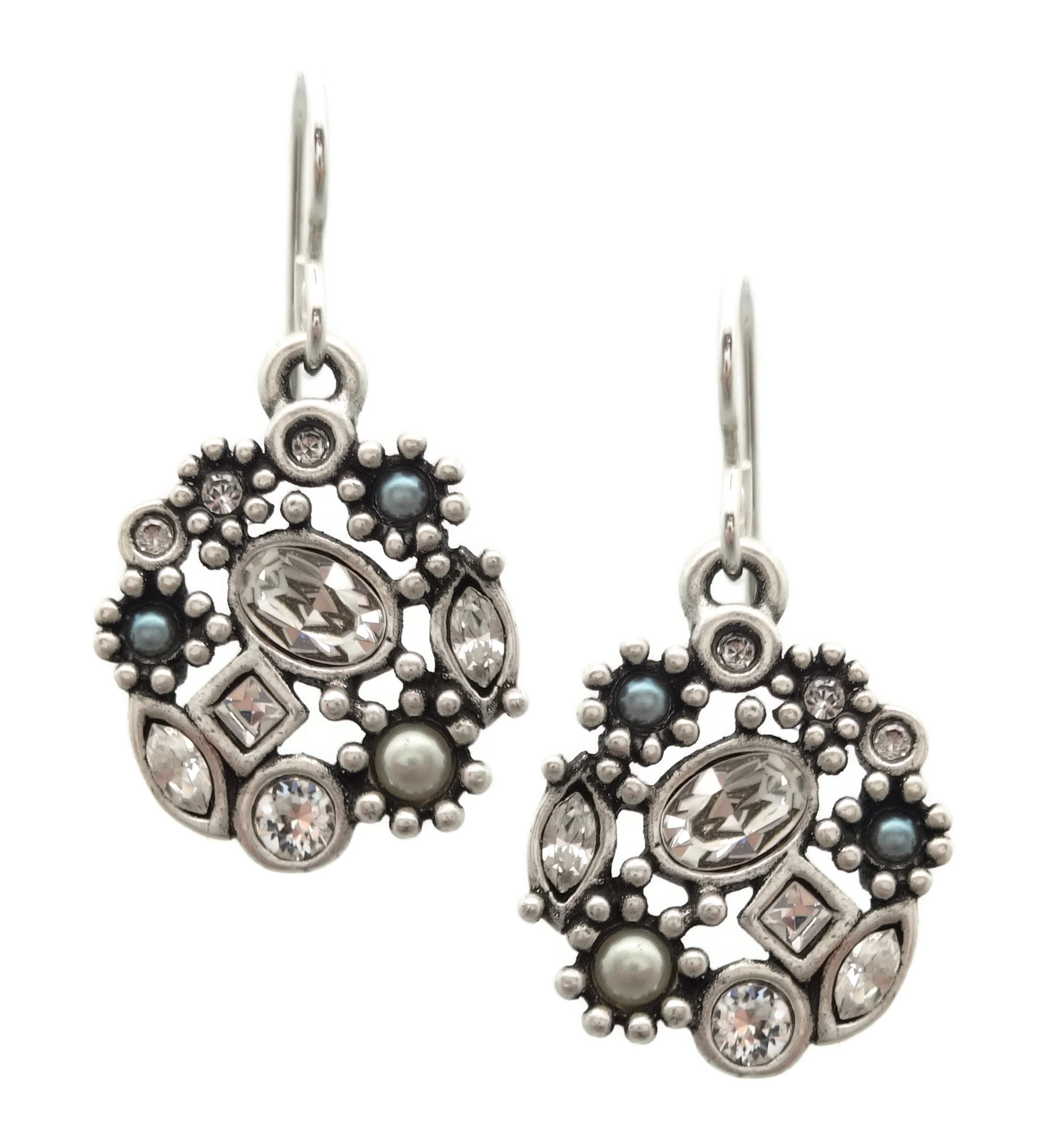 Patricia Locke Crystal PRL Clear Sonya Swarovski Crystal Silver Plated Earrings