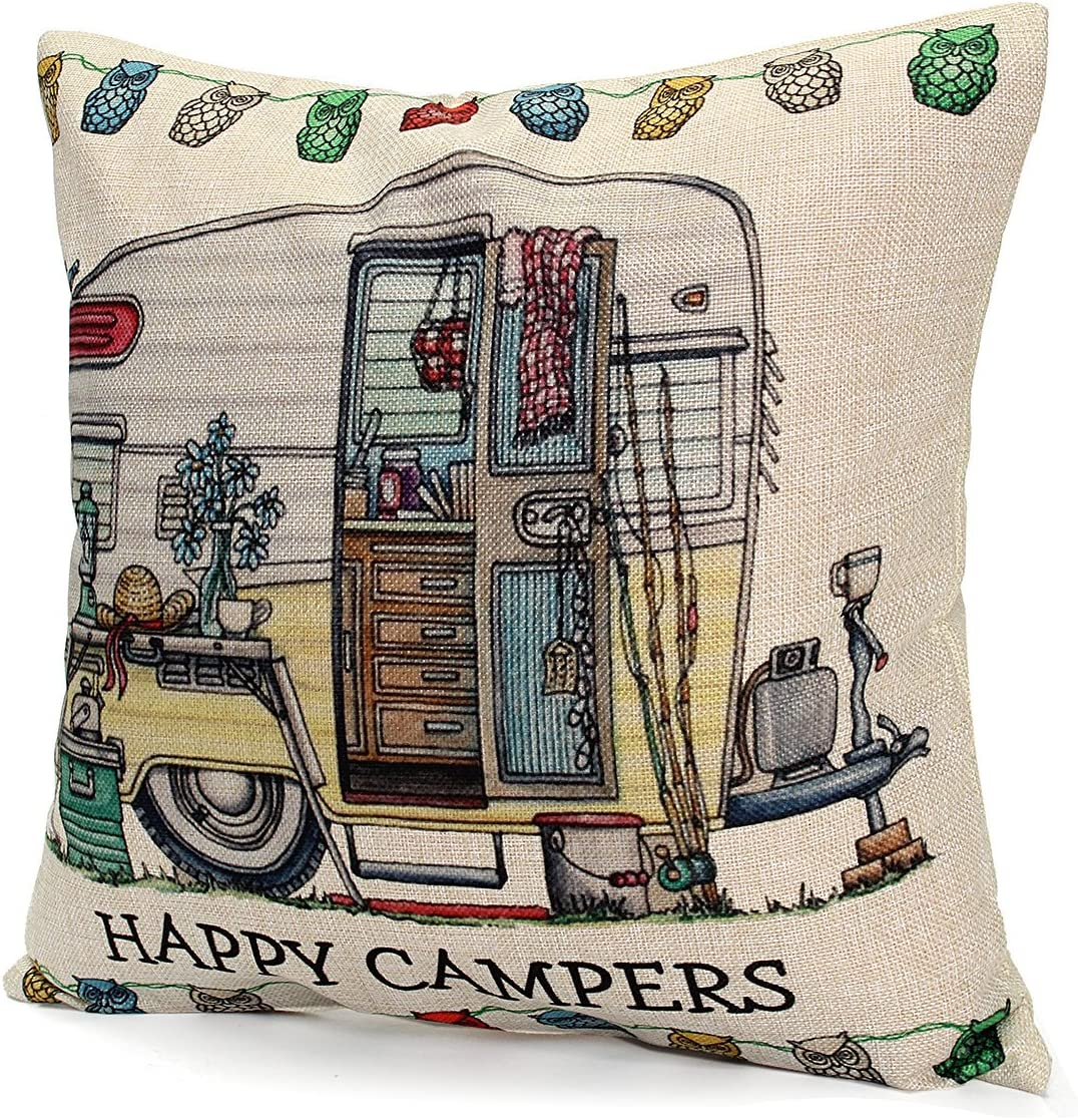 Bazaar 45x45cm Happy Campers Linen Square Throw Pillows Case Cushion Cover Home Bed Sofa Decor