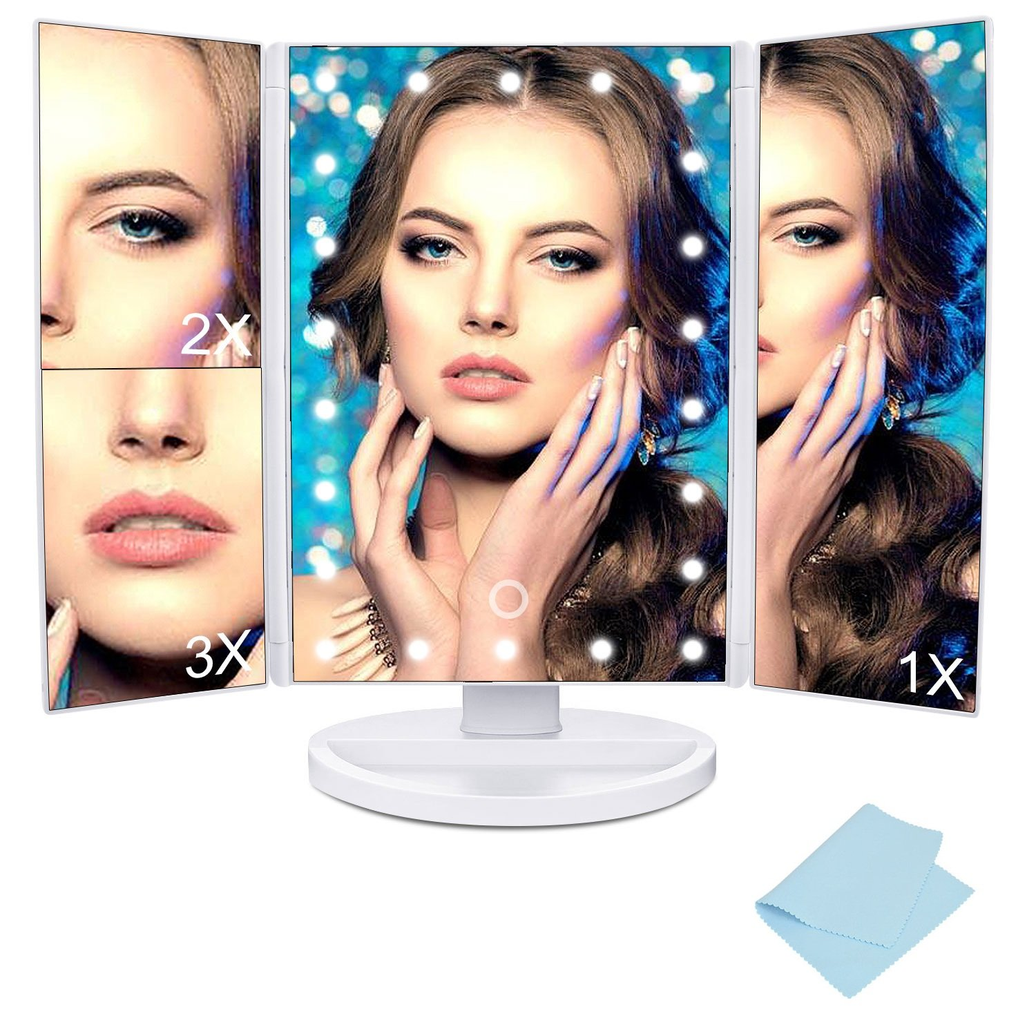 MaByTre Lighted Makeup Mirror Tri-folded Travel Vanity Mirror with 22 LED Lights and Magnifying Mirror with 2X 3X Magnification 180° Rotatable for Cosmetic Makeup - Small Mirror & Miror Cloth Included