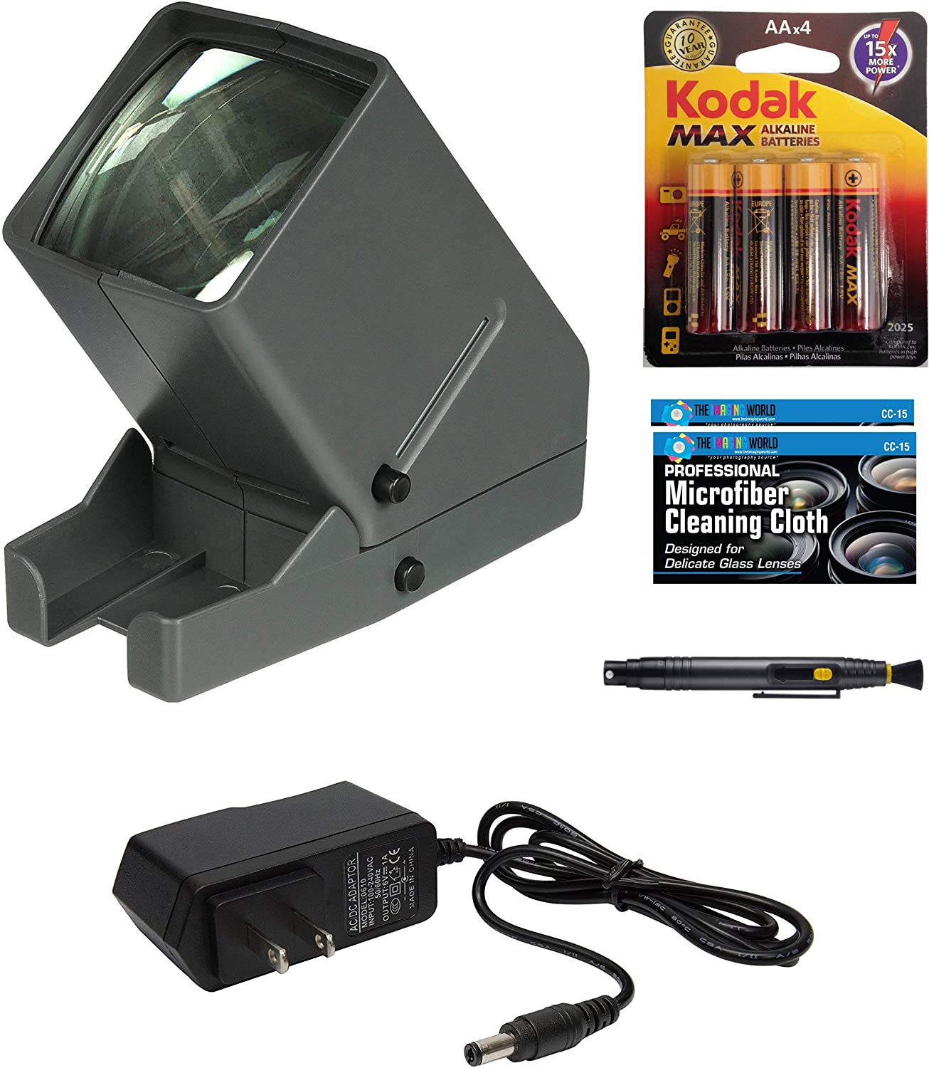 Medalight 35mm Desk Top Portable LED Negative and Slide Viewer + AA Batteries + AC Adapter + Microfiber Cleaning Cloth
