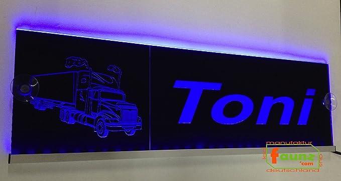 """LED LKW Trucker Leuchtschild Namensschild """"Toni"""" Wunschname 12 24V grün ©faunz"""