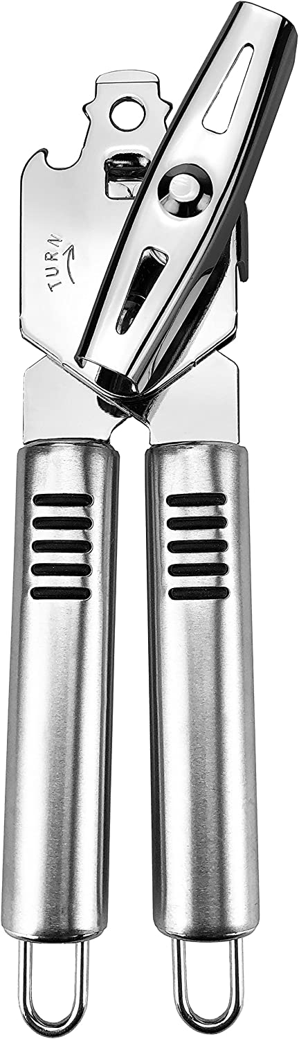 Pexio Professional Stainless Steel Manual Can Opener, 18/10 Food-Safe Stainless Steel, Comfortable to grip, Dishwasher Safe.