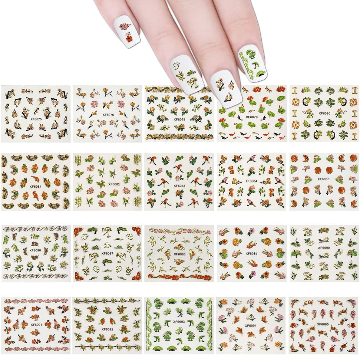 ALLYDREW 12 Sheets Cherry Blossoms Asian Inspired Nail Sticker Set Foil  Nail Stickers Nail Art 12+ Nail Stickers