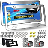 Aootf Stainless Steel License Plate Frames- Heavy Duty Polish Mirror Silver Car Tag Cover with Chrome Screw Caps, 4 Hole 2 Pa