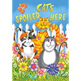 """Briarwood Lane Cats Spoiled Here Spring House Flag Floral Humor 28"""" x 40"""""""