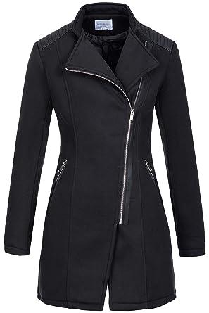 Modestile lässige Schuhe Ausverkauf Woll-Mantel   Übergangs Jacke   Kurz-Mantel für Damen V-8985 - rockiger  Baumwoll Trenchcoat im Biker Style mit Kunstleder-Applikationen