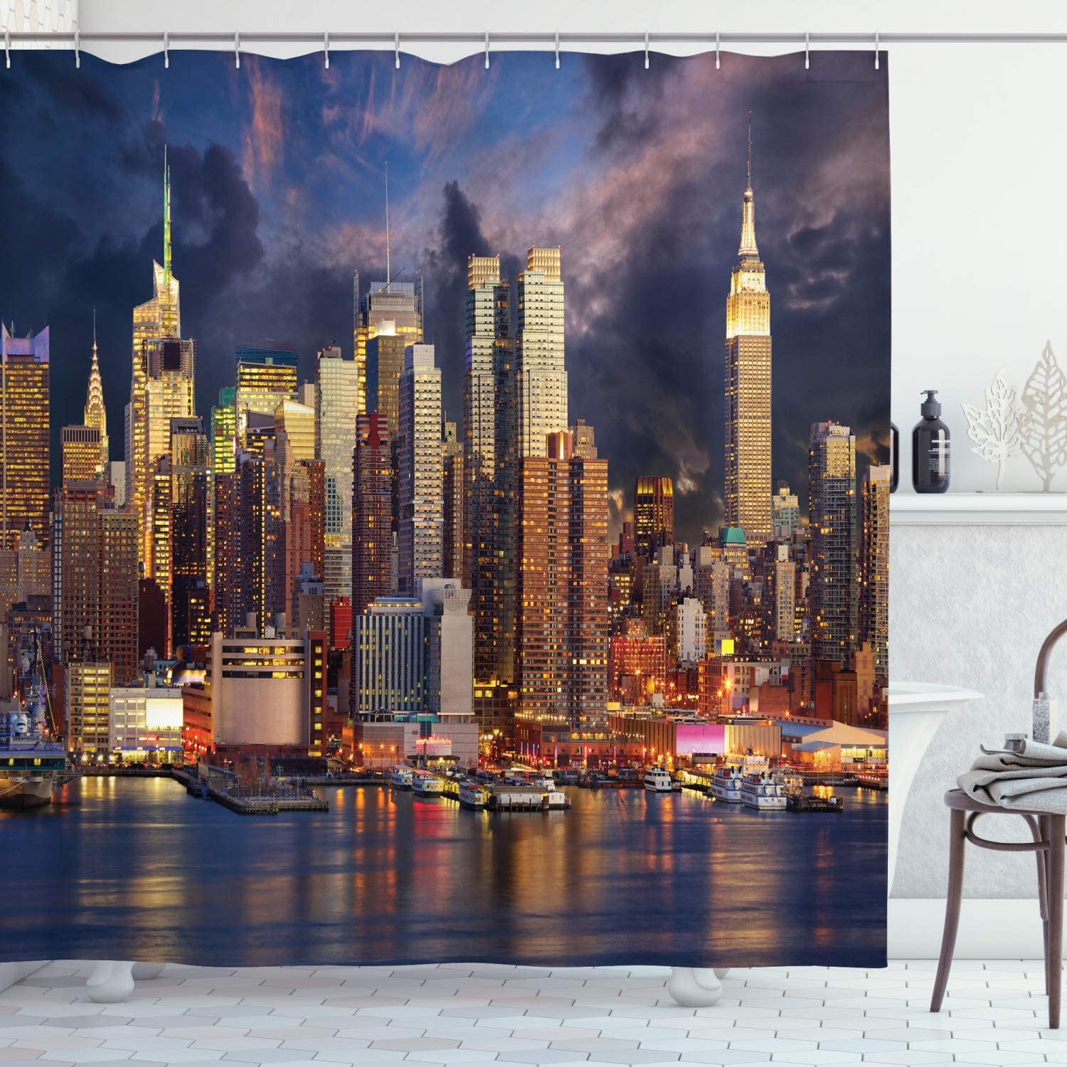 """Ambesonne NYC Decor Collection, Manhattan Midtown Skyline at Twilight Over Hudson River Waterfront Landmark Scenery, Polyester Fabric Bathroom Shower Curtain, 84"""" Long Extra, Navy Orange Yellow"""