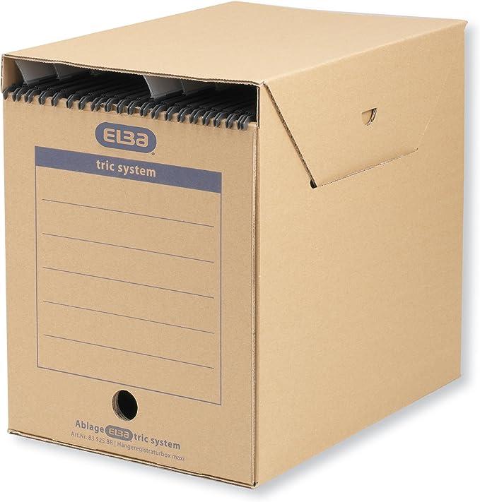 Elba Standard 83525 - Caja archivadora para colgar (archivado sistemático con sistema de lengüetas, 6 unidades), color marrón: Amazon.es: Oficina y papelería