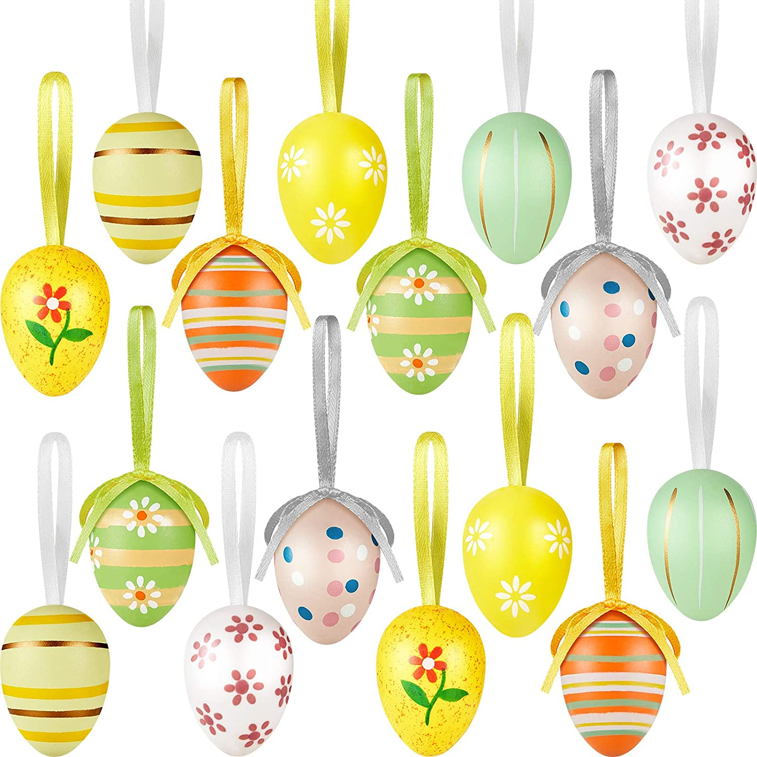 24 Pieces Easter Hanging Plastic Eggs Colorful Hanging Eggs Ornaments Easter Decorative Hanging Eggs Easter Eggs Tree Hanging Decoration with Ropes for DIY Crafts Party Favor Home Decor, 8 Styles