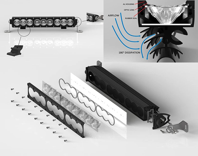 HD Series 10 OZ-USA 60w High output LED Halo Rings Advance Optics Lens Single Row Light Bar Off Road Fog Truck SUV ATV Trailer