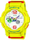 CASIO Baby-G Women's Quartz Watch with White Dial Analogue/Digital Display and Yellow Resin BGA-180-9BER