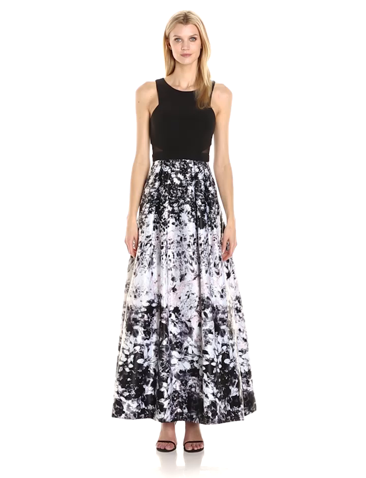 Xscape Women\'s Long Ity Top with Floral Print Ballgown at Amazon ...