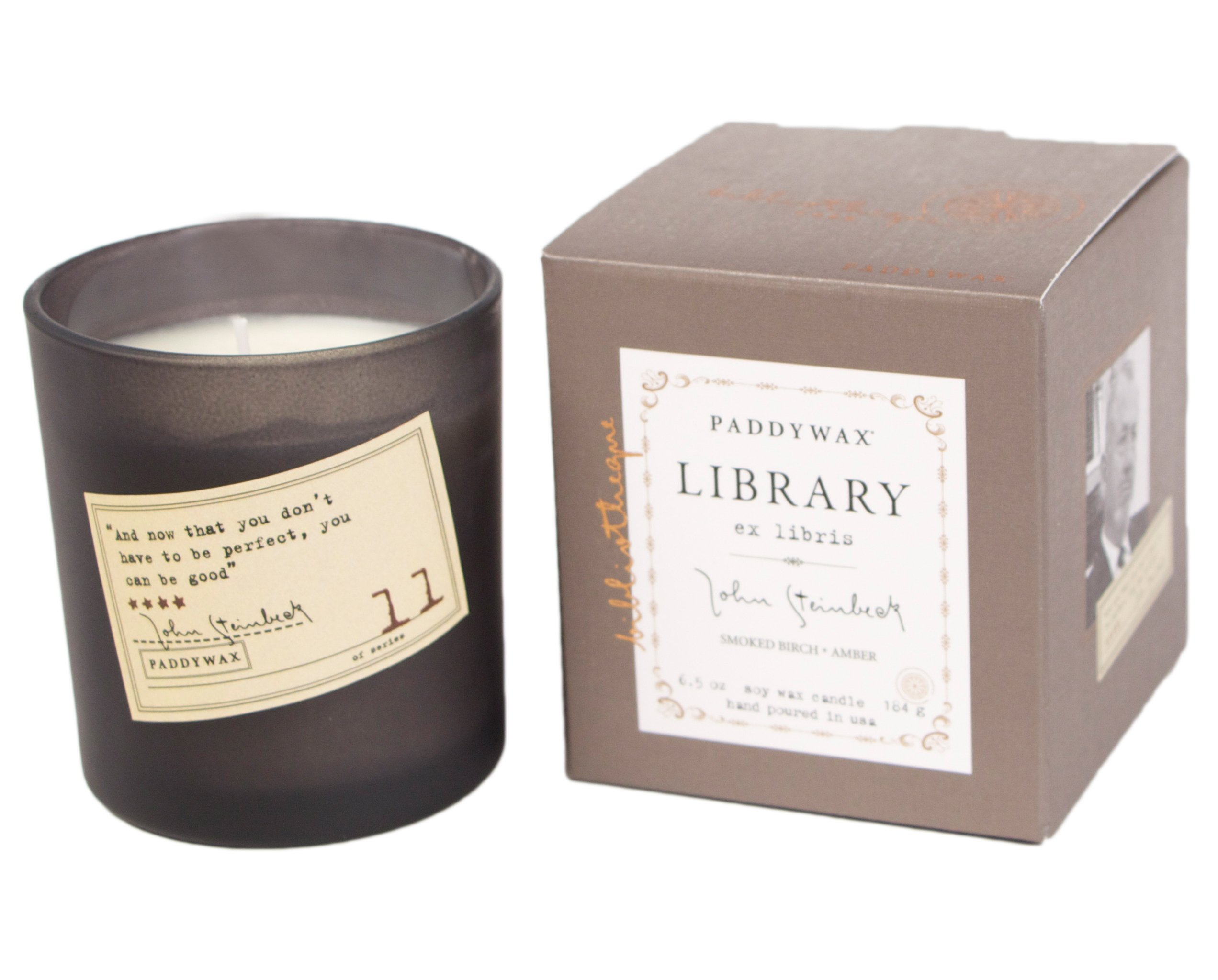 Paddywax Library Collection John Steinbeck Scented Soy Wax Candle, 6.5-Ounce, Smoked Birch & Amber
