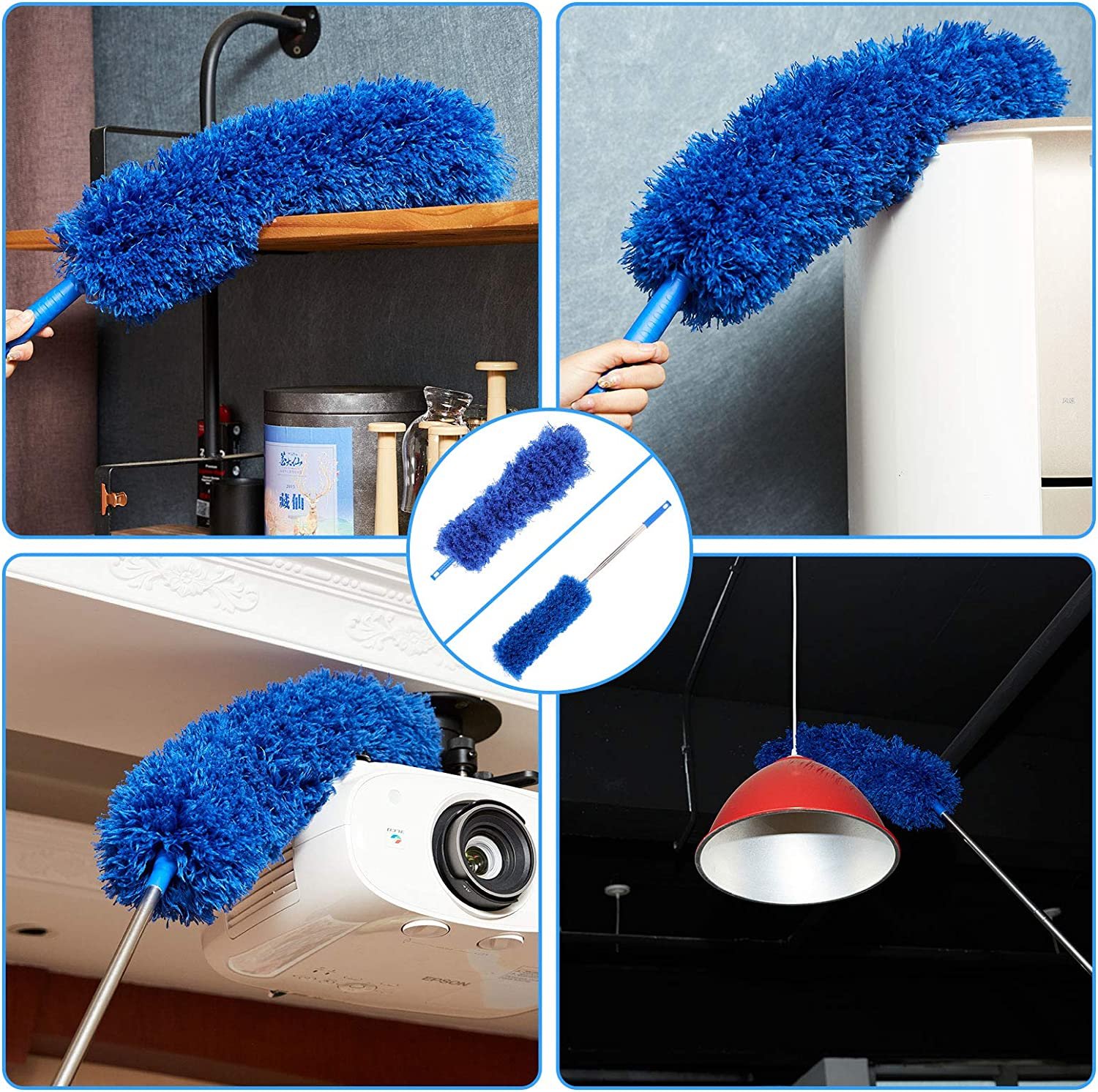 Wet or Dry Dust Collect,Cobweb Brush Microfiber Duster Collector Ceiling Fan Vacuum Cleaner Exhaust Fane Thickened Telescopic Rod 15-110 Inche LAZYCOTTAGE Three-Piece Dust Colleerctor Handle