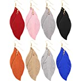Jovitec 8 Pairs Leather Earrings Set Lightweight Leaf Earrings for Women Girls Soft Suede Feather Earrings (Classic Style)