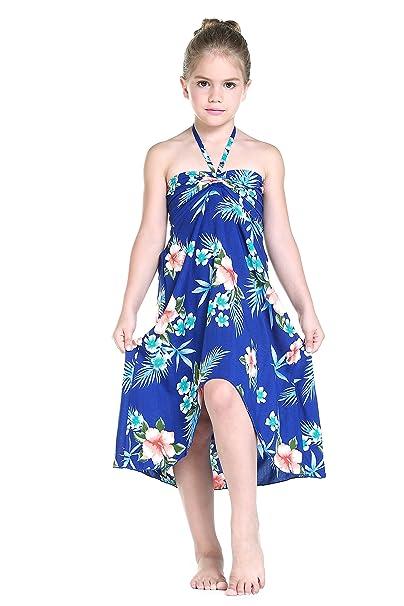 0637dd08bd48 Amazon.com: Girl Hawaiian Halter Dress in Hibiscus Blue: Clothing