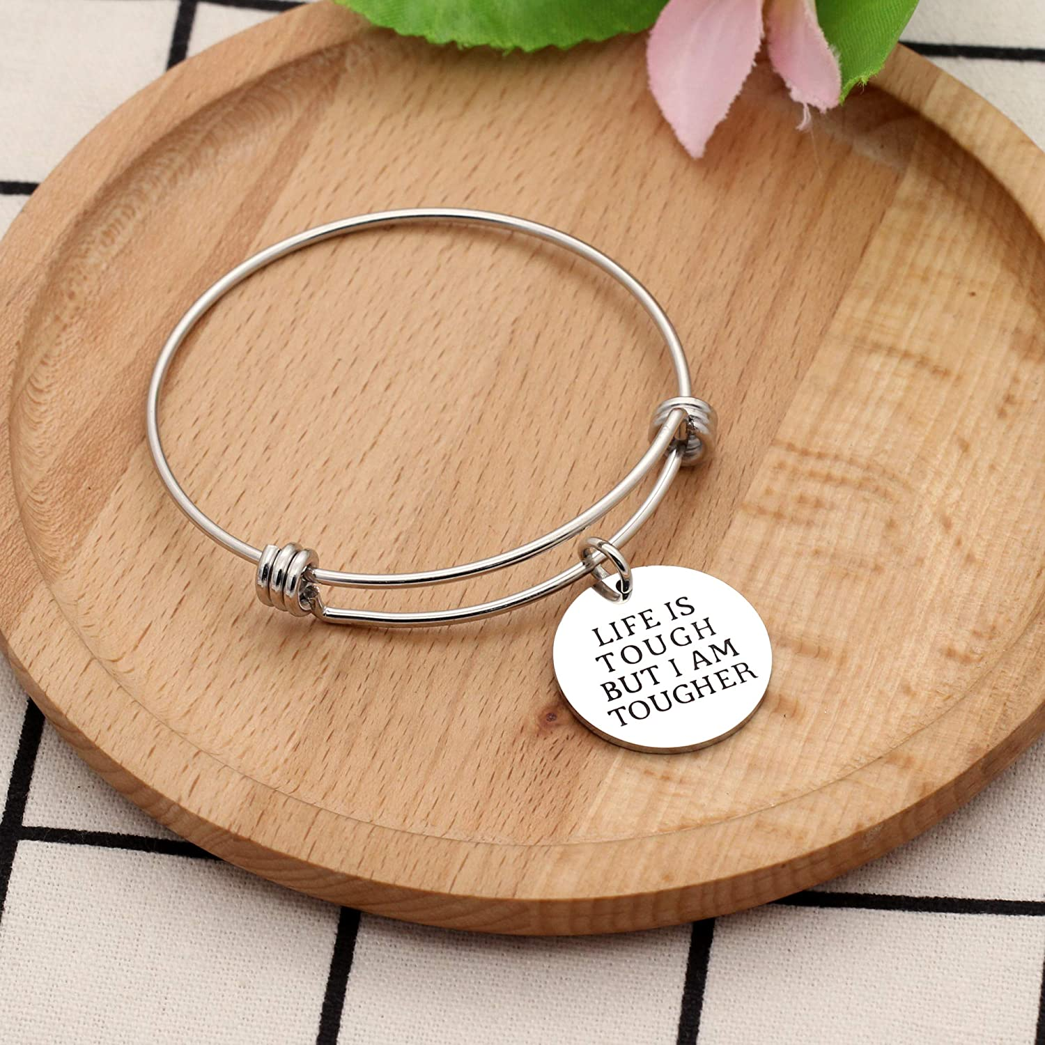 KENYG Life is Tough But I Am Tougher Silver Stainless Steel Women Adjustable Bracelet Bangles for Daughter Friends