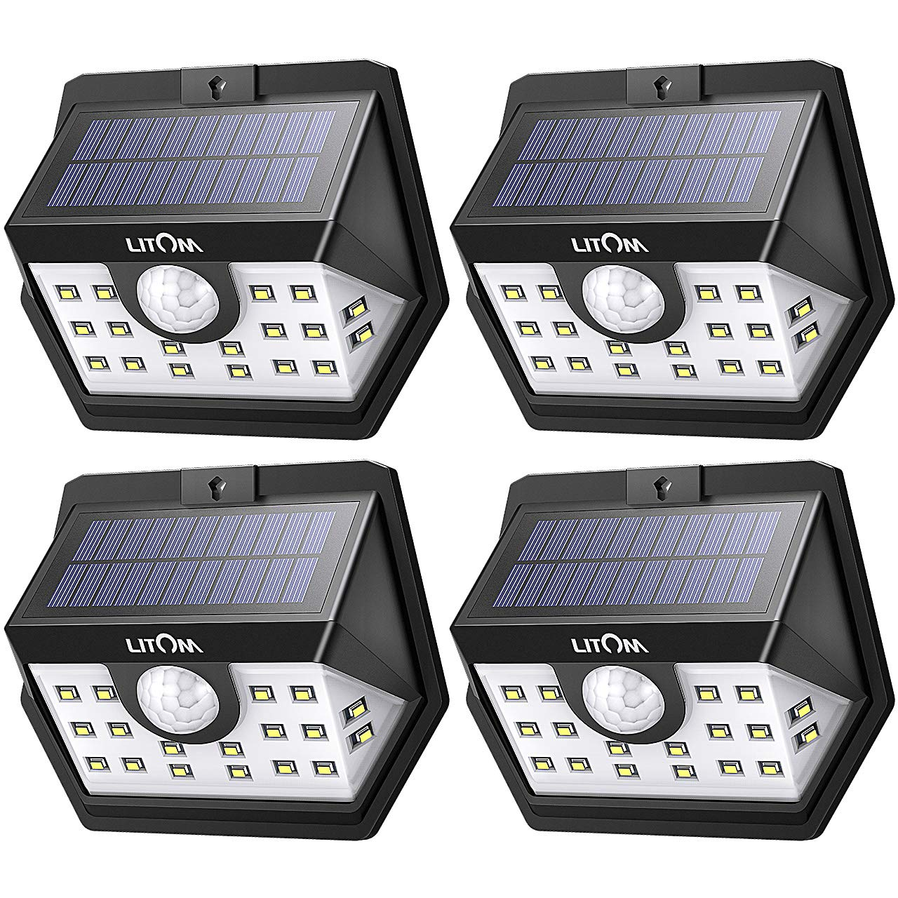 LITOM Classic Solar Lights Outdoor, 20 LED Wireless Motion Sensor Lights(White Light), 270°Wide Angle, IP65 Waterproof, Easy-to-install Security Lights for Front Door, Yard, Garage, Deck, Porch-4 Pack by Litom