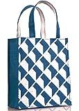 H&B Jute Bag - Gift Bag - Reusable Bags | Jute Bag for Lunch | Jute Lunch Bag | Tiffin Bag | Shopping Bag | Tote Bag | Handbag - Handcrafted, Hand Printed - Sustainable Designs (Shadow, Denim Blue)