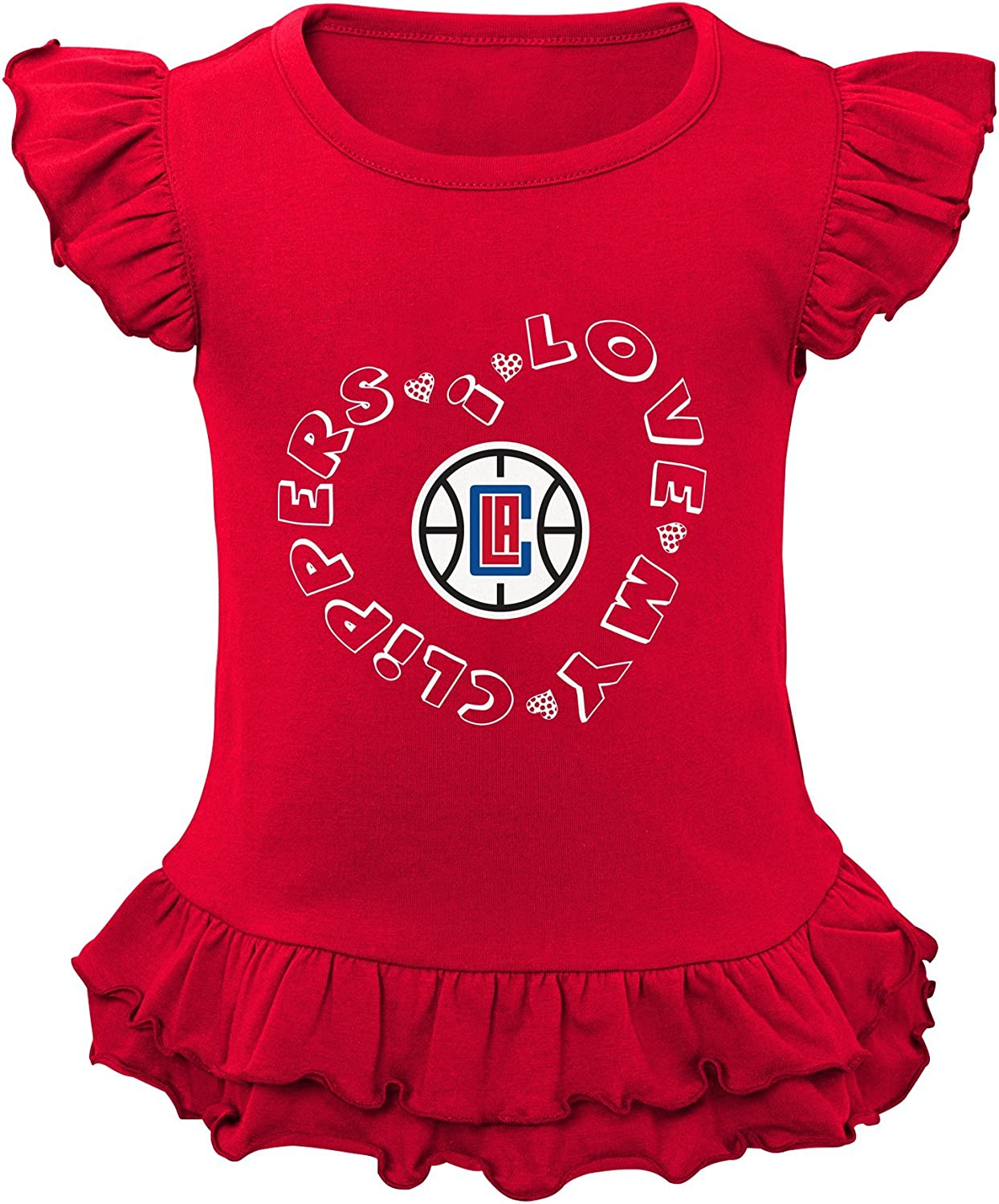NBA Toddler Team Love Ruffle Shirt and Pant Set Los Angeles Clippers-Red-4T