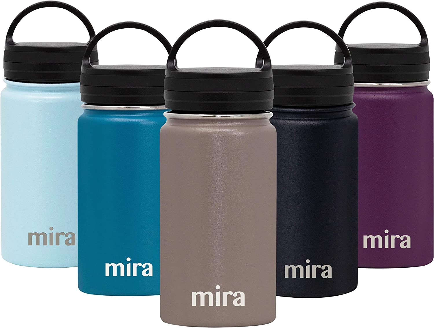 MIRA Stainless Steel Vacuum Insulated Wide Mouth Water Bottle - Thermos Flask Keeps Water Stay Cold for 24 hours, Hot for 12 hours - Hydro Metal Bottle BPA free cap - - Brown