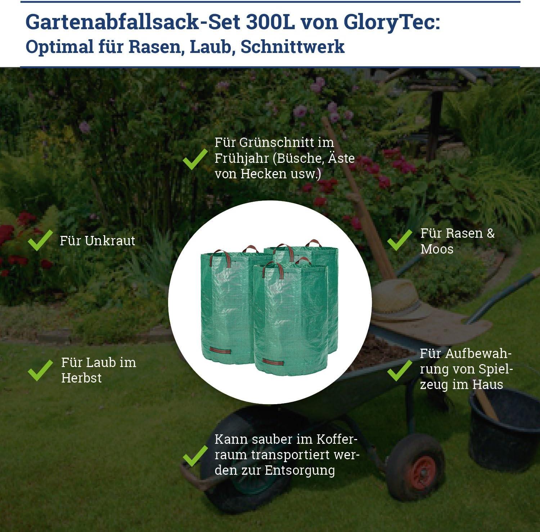 Glorytec Saco de jardín – 300 litros de Capacidad – 3 Unidades en ...