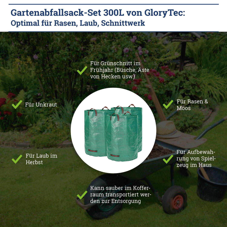 Glorytec Saco de jardín - 300 litros de Capacidad - 3 Unidades en Set - Bolsas de Basura de jardín Hojas y Saco Extra Resistente - Plegable ...