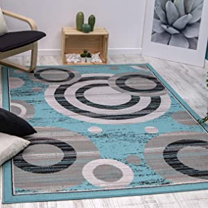 Antep Rugs Kashan King Collection Galaxy Geometric Polypropylene Indoor Area Rug (Blue/Gray, 8' x 10')