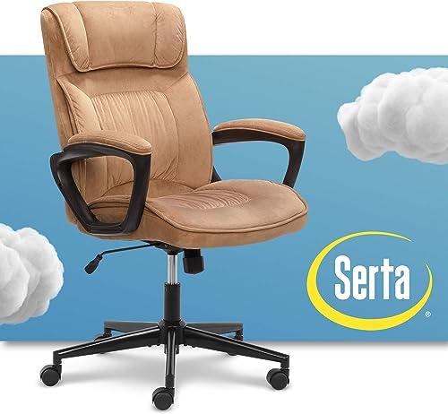 Serta Hannah Microfiber Office Chair with Headrest Pillow