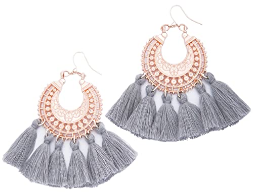 8262794a91122f Rose Gold Tassel Earrings: Grey fringe gifts for women. Fashion drop dangle  tassle earing